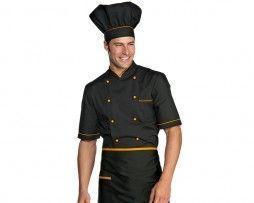 casaca-cocinero-negro-naranja-manga-corta-isacco