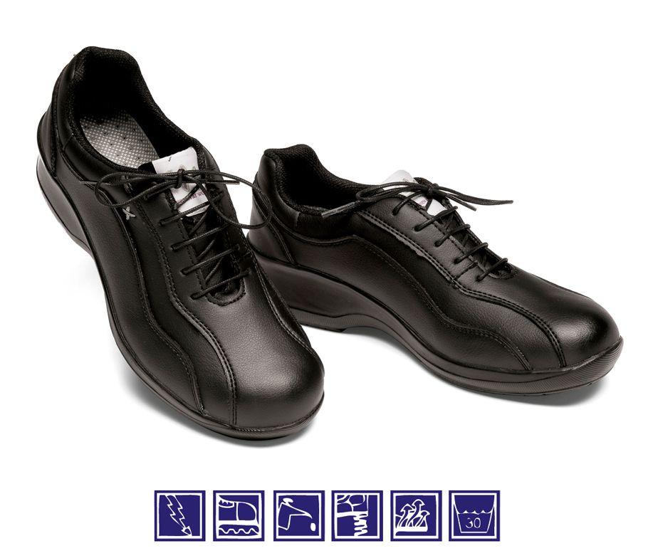 Zapato negro de mujer con cordones para cocina y sanidad - Zapatos camarera antideslizantes ...