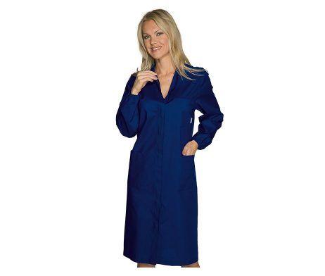 bata entallada original y elegante de mujer azul cierre botones