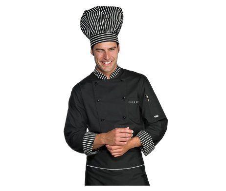 chaquetilla de cocinero negra de manga larga gruesa