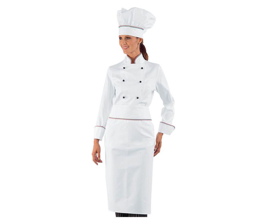 cb0ed583d02 Delantal largo cocinero color blanco. Delantal cocina Isacco 114410