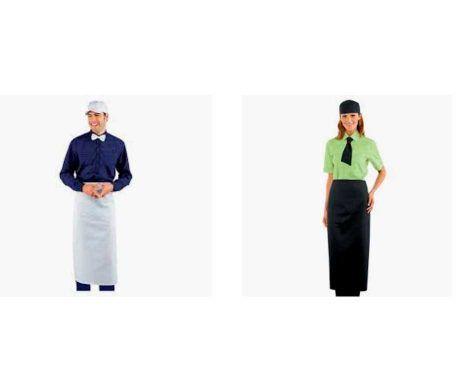 delantal largo francés blanco o negro para heladerías, panaderías, hostelería