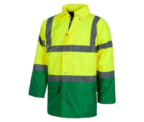 Parka de trabajo frío extremo industria construcción reflectante, acolchada, impermeable, capucha