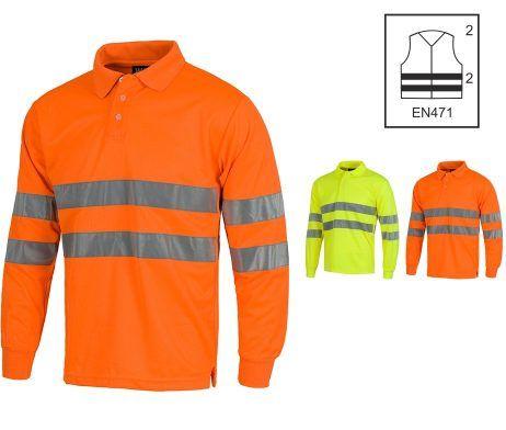 polo alta visibilidad con cintas reflectantes amarillo naranja