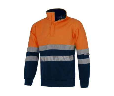 sudadera reflectante azul marino naranja