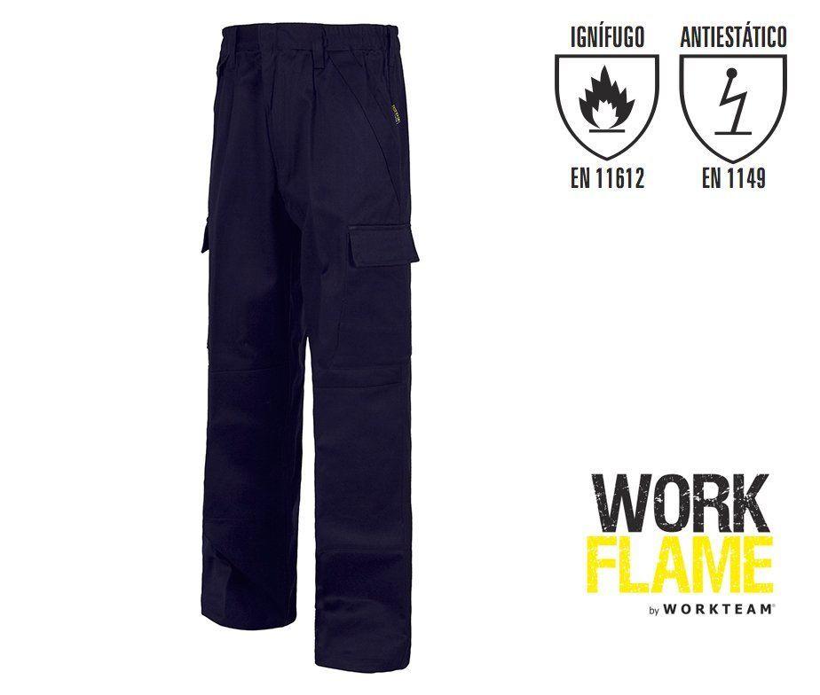 Pantalon Algodon Ignifugo Y Antiestatico Reforzados Workteam B1493
