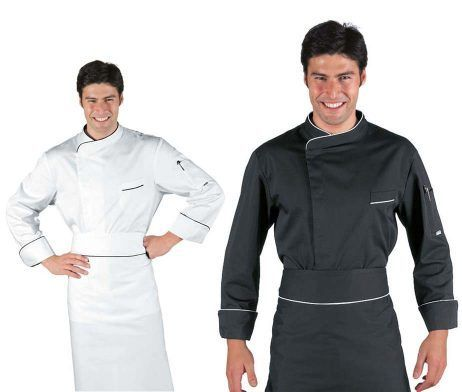 Chaqueta cocinero negra elegante