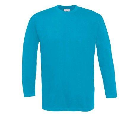 camiseta manga larga hombre azul