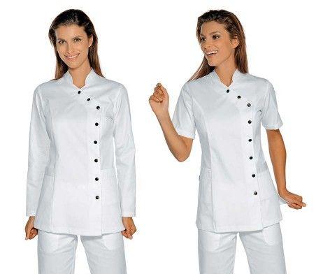 casaca sanitaria elegante mujer blanca