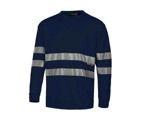 camiseta reflectante azul marino manga larga