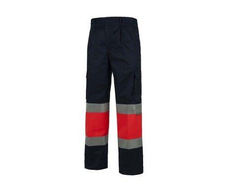 pantalon multibolsillos alta visibilidad rojo azul marino
