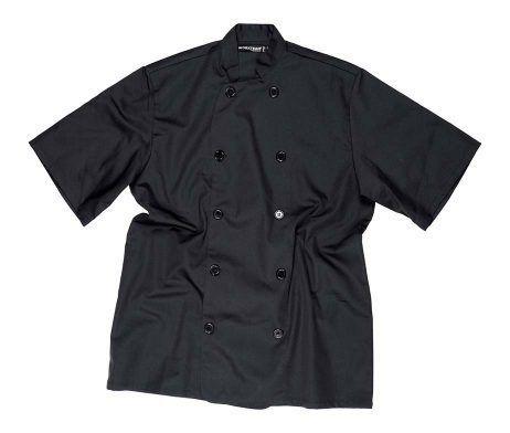 chaqueta de cocinero manga corta barata y económica negra