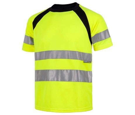 camiseta alta visibilidad amarilla reflectante manga corta