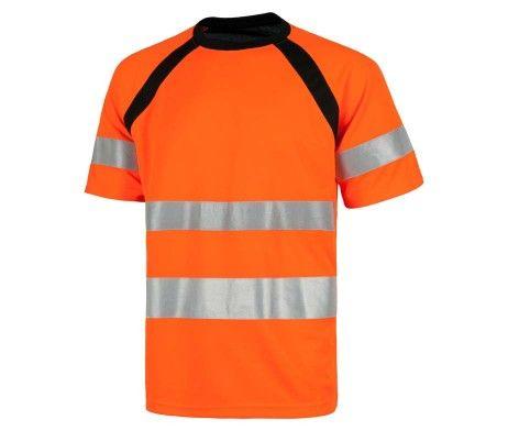camiseta naranja manga corta reflectante alta visibilidad