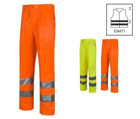 pantalón alta visibilidad amarillo o naranja cintas reflectantes