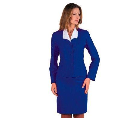 chaqueta americana mujer uniforme hotel azul