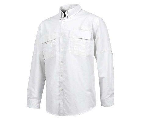 camisa laboral con rejilla traspirable blanca