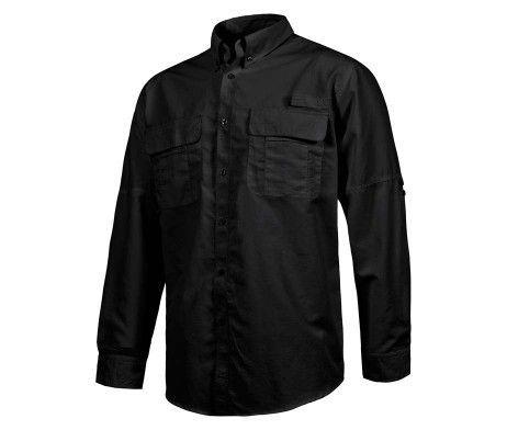 camisa laboral con rejilla traspirable negra