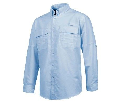camisa laboral con rejilla traspirable azul
