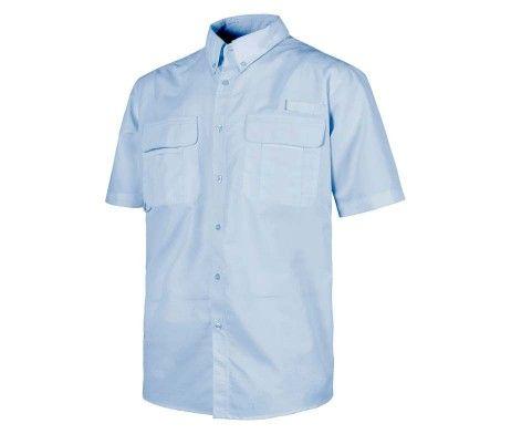 camisa laboral con rejilla traspirable azul celeste