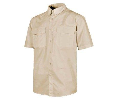 camisa laboral con rejilla traspirable beig