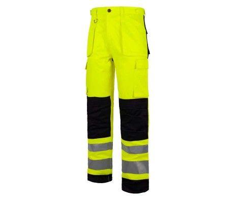 Pantalón multibolsillos alta visibilidad reflectante amarillo A.V. Negro