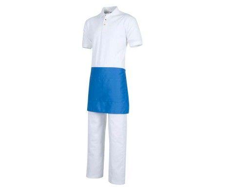 delantal color azul celeste corto camareros