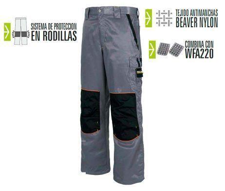 pantalón laboral tejido antimanchas gris negra