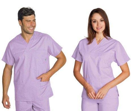 casaca sanitaria pijama enfermero cuello pico algodón