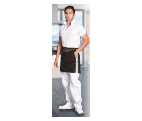 delantal negro cinta reflectante camareros