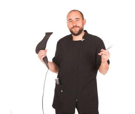 casaca manga corta peluquero color negra