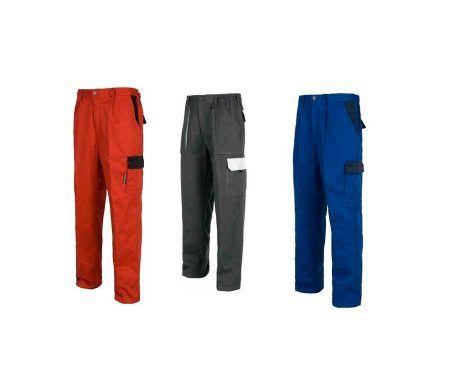 pantalon trabajo rojo gris azul