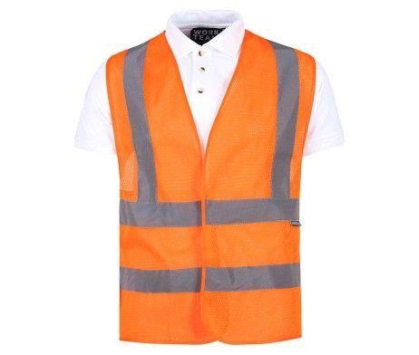 chaleco reflectante rejilla alta visibilidad color naranja