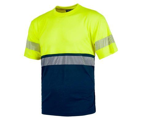 camiseta amarilla tacto algodón cintas reflectantes