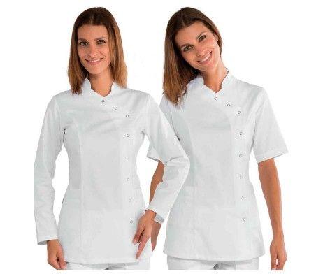 casaca elegante mujer sanitaria blanca