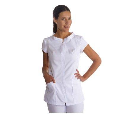 chaqueta blanca ropa centros de estética y belleza con cierre cremallera