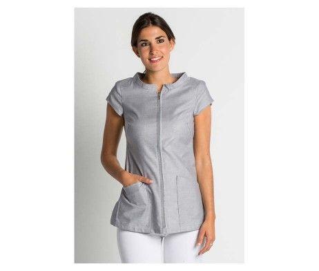 casaca gris ropa centros de estética y belleza con cierre cremallera