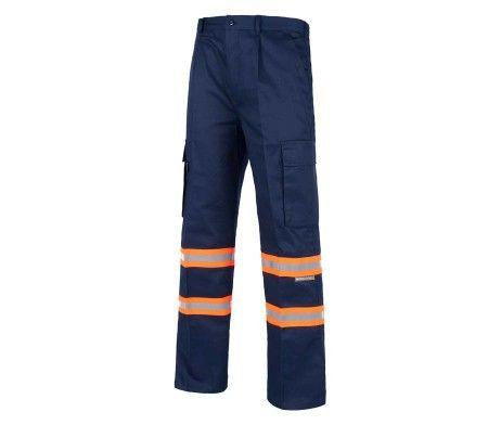 pantalón azul reflectante naranja