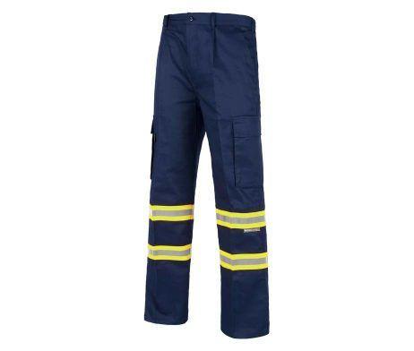 pantalón azul reflectante amarillo