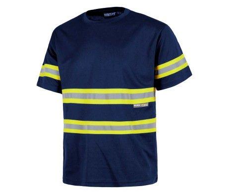camiseta alta visibilidad reflectante azul manga corta