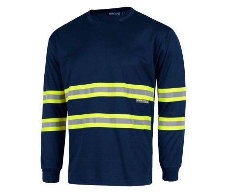 camiseta alta visibilidad reflectante azul manga larga