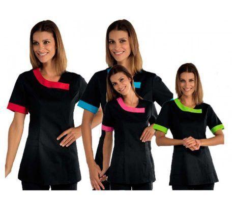 005407-60 delhi casaca sanitaria negra con ribete