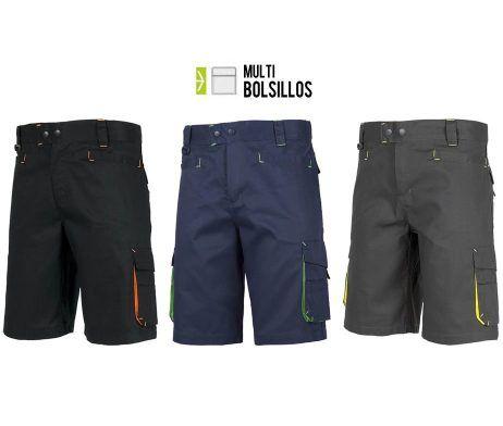 Pantalón bermuda multibolsillos combinado AV para uso laboral sin elásticos en cintura