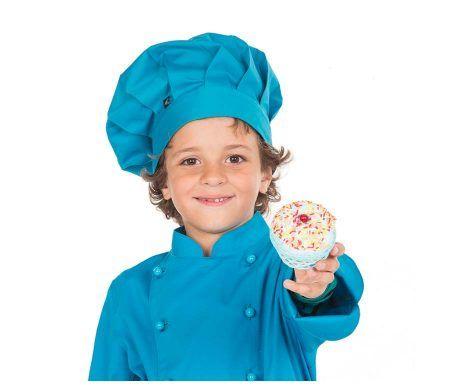 gorro infantil colores cocinero chef niños y niñas azul turquesa