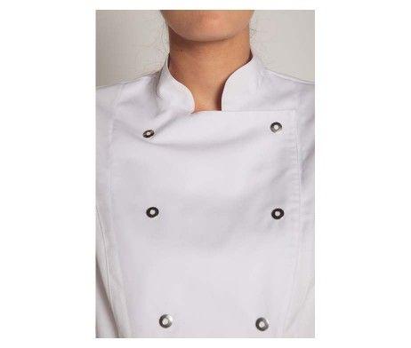 chaqueta mujer cocinera blanca cierre corchetes