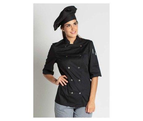 chaqueta mujer Chicote cocinera negra cierre corchetes