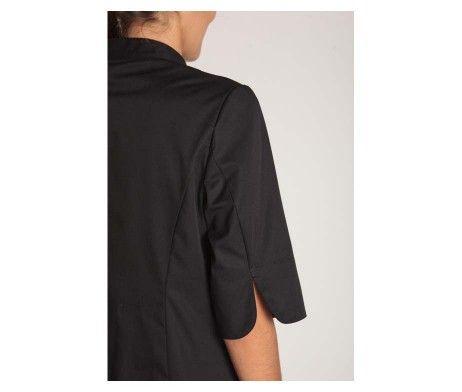 chaqueta mujer cocinera negra cierre corchetes