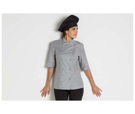 casaca chef mujer cocinera color gris manga corta