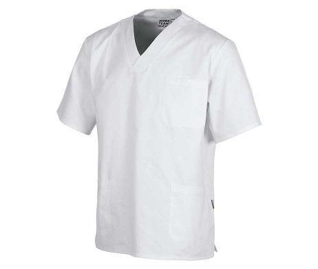 casaca sanitaria cuello pico blanca tejido algodón barata