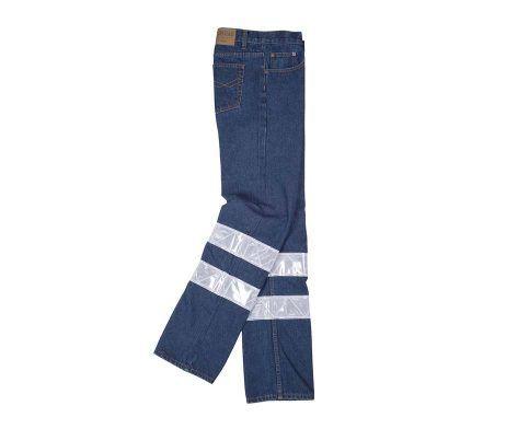 pantalón vaquero azul jeans laboral reflectante